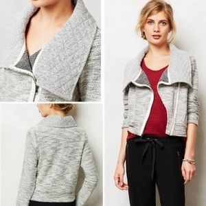 Anthropologie Asymmetrical Moto Knit Sweater L